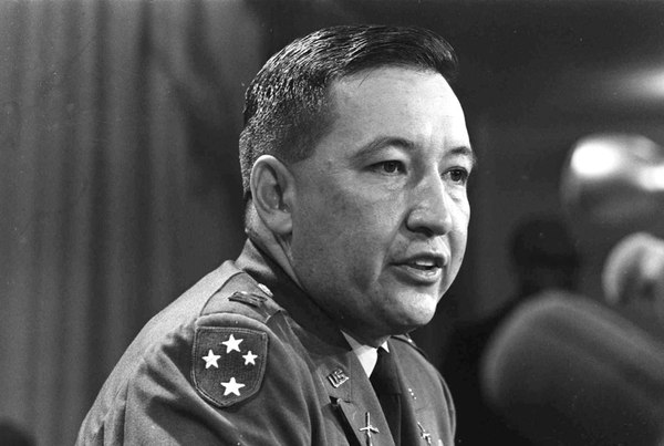 In this Dec. 4, 1969, file photo, Army Capt. Ernest Medina, a key figure in the 1968 My Lai massacre during the Vietnam War, speaks at a news conference at the Pentagon. Medina died on May 8, 2018, according to an obituary written by his family. He was 81. (AP)