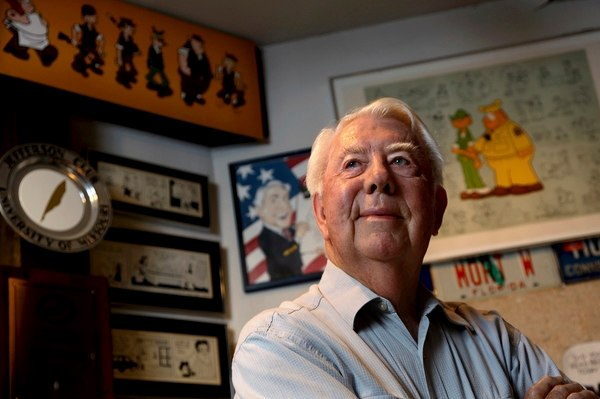 Mort Walker, the artist and author of the Beetle Bailey comic strip, stands in his studio in Stamford, Conn., in this Aug. 16, 2010, photo. Walker died Jan. 27, 2018. He was 94. (Craig Ruttle/AP)
